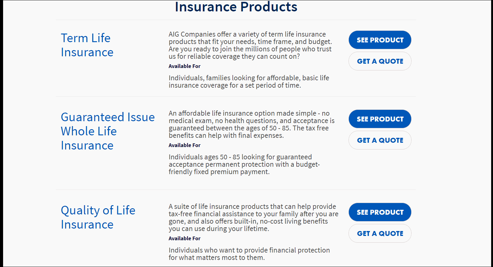 AIG Life Insurance Products