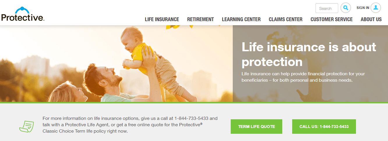 Protective Life Insurance Website Home Page